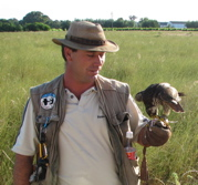 Hank Chalmers with young Peregrine Falcon