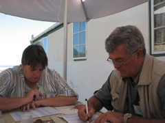 Penny and Pietman filling in the bird lists